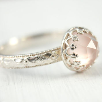 Rose quartz ring, sterling silver, 8 mm rose cut gemstone, silver ring, pink ring, vintage floral band, crown setting, stacking ring.