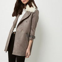 Grey faux fur collar coat - coats / jackets - sale - women
