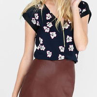 Outlined Floral Zip Front Rolled Sleeve Blouse from EXPRESS