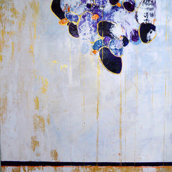 Original abstract painting, white and gold paint, nature art, modern art by Julianne Strom