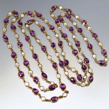 Long Muff Guard Necklace Amethyst Crystal Paste C. 1920s