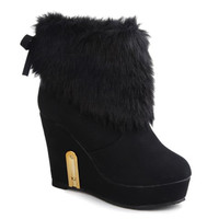 Back Bow Tie Faux Faur Ankle Boots With Wedge Heel