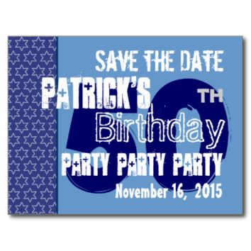 Modern Save the Date 50th Birthday Party Blue W01 Post Cards
