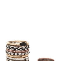 FOREVER 21 Geo Midi Ring Set Burn.S/Black