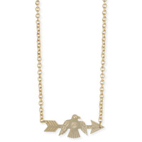Gold Bird and Arrow Necklace