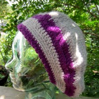 Crochet Alpaca Beret, Steel Gray & Purple