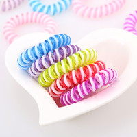 10pcs/lot Double Strip Fashion Cute Candy Color Hair Jewelry Headbands Telephone Line Hair Rope for Women Hair Band