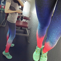Women's Leggings Esportivos Gradient Print Sexy Women Fitness Slim Legging Jeggings Workout Clothing For Woman Ropa Mujer