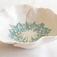 White porcelain poppy bowl aqua lime ceramic freeform petals jewellery serving dish gift for her