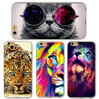 Cute Cat with Glasses Tiger Skull Pattern Case Cover For iphone 5 5s SE 6 6S Transparent Soft Silicone Cell Phone Cases