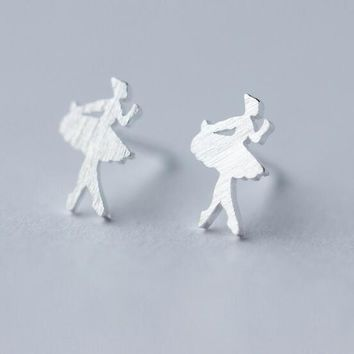 cute Real. Real. 925 Sterling Silver Fairy Girl /Ballet dancer Girl Small Tinny Earrings 6mm sterling-silver-jewelry GTLE1035