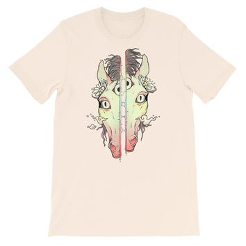 Split-Face Horse, Unisex T-Shirt, Soft Cream