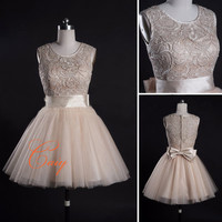 Elegant top lace short prom dress by CAIY on Etsy