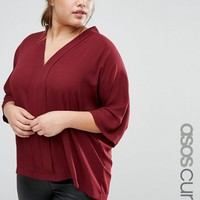 ASOS CURVE Drape V Neck Top at asos.com