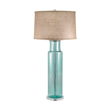 216B Recycled Glass Cylinder Table Lamp In Blue