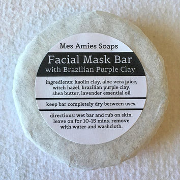 Brazilian Purple Clay Facial Mask Bar | All Natural, Vegan Skincare | Bath and Body | Handmade Gift | Mes Amies Soaps