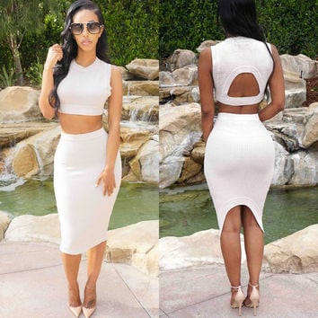 White Cutout Sleeveless Irregular Skirt Set