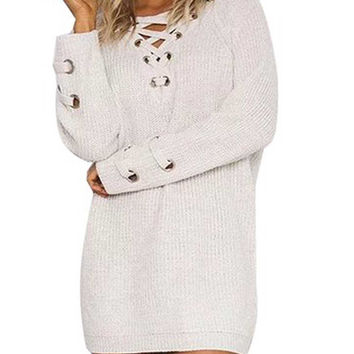 White Lace Up Front V Neck Long Sleeve Knit Ribbed Loose Sweater Dress Top