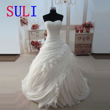 SL-3508 Real Photos Princess Wedding Dress 2016 Tube Cascading Ruffle Bride Robe De Mariage vestidos de noivas Vintage