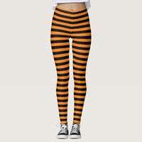 Halloween witch leggings with orange black stripes
