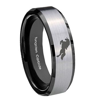 8MM Silver Black Bevel Edges Horse Tungsten 2 Tone Laser Engraved Ring