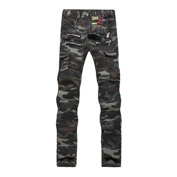 2016 New Mens Camouflage Jeans Motocycle Camo Military Slim Fit Famous Designer Biker Jeans With Zippers Men Balmai Jeans Men