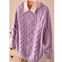 New Fall 2013 Lilac Wool Vintage Inspired Sweater from Moooh!!