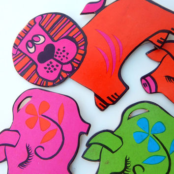 Groovy 70's Lion and Pig ANIMAL Gift TAGS