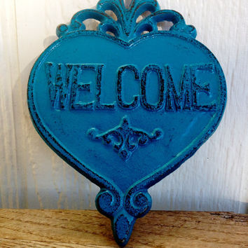 Ornate Heart Welcome Sign Wall Art - Teal Turquoise Blue - Rustic Shabby Chic Outdoor Decor