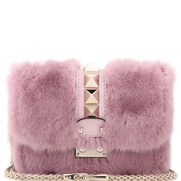 Lock Mini mink fur and leather shoulder bag