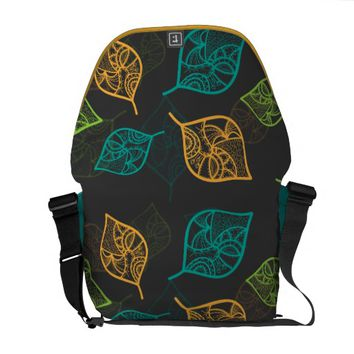 Graceful Leaves Pattern Courier Bag