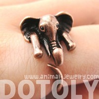 Realistic African Elephant Animal Wrap Ring in Copper Sizes 6 to 10.5