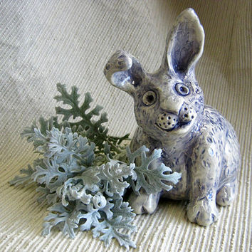 Ceramic Bunny  / Bunny Rabbit Sculpture / Coin Bank / Lavender & Pale Blue / OOAK