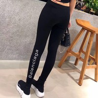 """Balenciaga"" Women All-match Casual Simple Fashion Letter Embroidery Tight Thickened Leggings Pants Trousers Sweatpants"