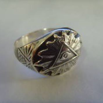 ALL SEEING EYE masonic freimaurer signet silver ring by silver999