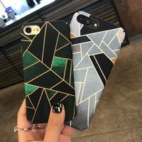 Geometric green iphone7 phone shell iphone 6s / 7plus original full package scrub hard shell iphone case + Nice Gift Box