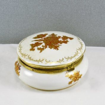 Hinged Trinket Jewelry Box Round Porcelain Gold Rose w/ Red Accent Design Vintage Made in Japan D 58 Inside Decorated