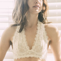 Easy on the Eyes Halter Lace Bralette - white