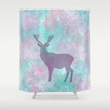Winter Deer Silhouette Shower Curtain by eDrawings38 | Society6