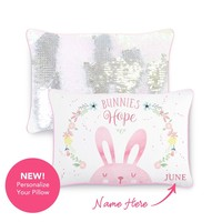 HOPE Bunny Pillow w/ Reversible Iridescent & Silver Sequins