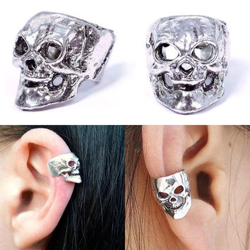 New Fashion Gothic Punk Vintage Men Women Silver Skull Cuff Ear Clip Wrap 1PCS (Size: 1cm by 1cm by 1.3cm, Color: Bronze) = 1946953092
