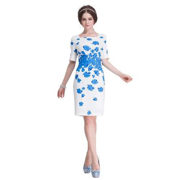 In the summer of 2017 female temperament straight half sleeve sexy dress, Kate Middleton, style of dress