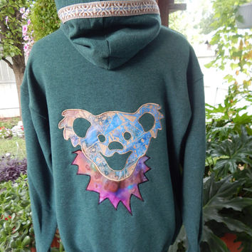 Mens Upcycled Zip Up Hoodie Green Grateful Dead Dancing Bear OOAK Size L Hippie clothes, hoodie, recycled hoodie, zip up hoodie, guys hoodie