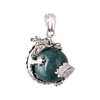 1PC Dragon Wrap Inlaid Natural Stone Gem Beads Pendant Charm For Necklace