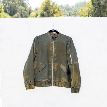 Moss Green Zipper Bomber Jacket