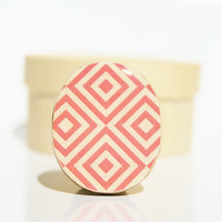 summer Cocktail Ring. pink mod pattern Adjustable ring. Summer jewelry geometric eco friendly statement ring. Summer fashion Starlight Woods