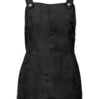 Suedette Military Playsuit - Black
