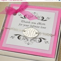 Back To School Sale Monogramed Silver Bracelet w/ giftbox - Personalized Jewelry - Oval Monogram Bracelet - Personalized Bracelet - Monogram