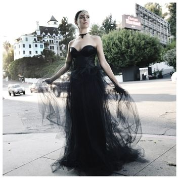 Johanna Johnson haute couture black satin and tulle evening gown sz 4/6