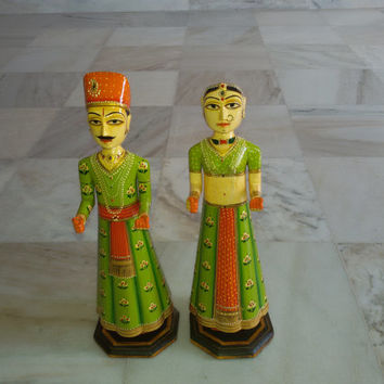 traditional rajasthani gangor set(wooden idol of husband and wife). handmade and hand painted traditional indian folk art